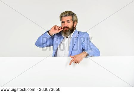 Perfect Portrait Of Professional Businessman With Copy Space. Formal Male Fashion. Brutal Beauty And