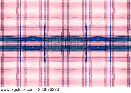 Watercolour Scotland Fabric. Red Stripe Repeat. Seamless Trendy Cloth Design. Textured Wallpaper. Vi