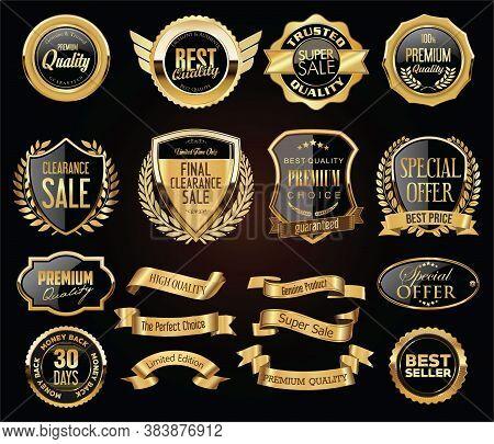 Retro Vintage Golden Badges Labels Badges And Shields Collection