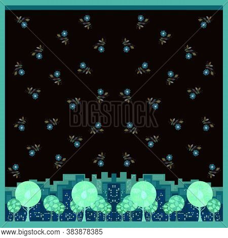 Beautiful Square Card With Trees In The City And Flowers In The Sky. Cute Design For Cushion, Pillow