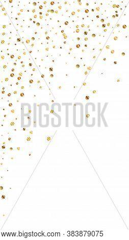 Festive Perfect Confetti. Celebration Stars. Sparse Gold Confetti On White Background. Good-looking