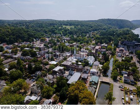 Aerial Of Residential Quarters At Beautiful Town Urban Landscape The Of Lambertville Nj Us Near The
