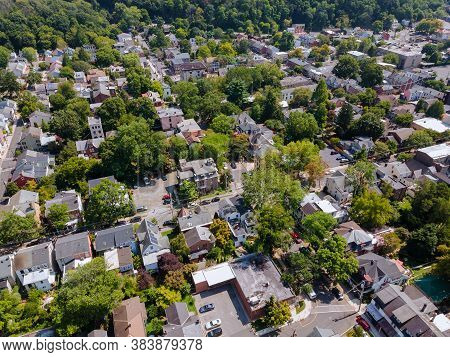 Panoramic View Of A Neighborhood In Roofs Of Houses Of Residential Area Of Lambertville Nj Usa Near