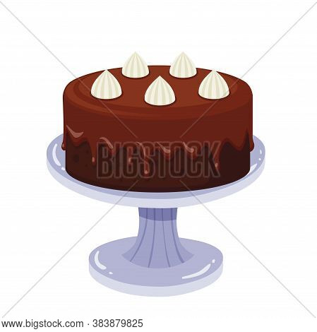 Birthday Cake With Chocolate Cream And Rosette. Vector Flat Color Icon. Isolated On White Background