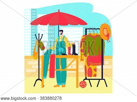 Market Stalls, Flat Style Clothing Set, Fashion Street Shop, Selling Dresses, Cartoon Vector Illustr
