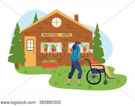 Volunteers, Help People, Inscription Nursing Home, Nurse Cares For Elderly Health, Cartoon Vector Il