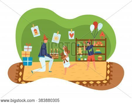 Helping People, Volunteers, Orphanage, Social Support, Charity For Orphans, Cartoon Style Vector Ill