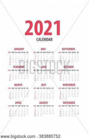 2021 Monthly Calendar Template Isolated On White Background. Time Organizing Schedule In Grey Colors