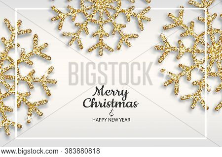 Merry Christmas And Happy New Year Holiday Invite Poster. Golden Snowflakes Shimmer On Light Backgro