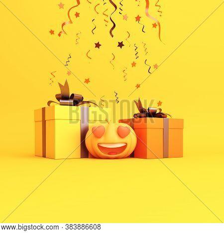 Happy Halloween Background With Cute Cartoon Pumpkin, Gift Box. Halloween Pumpkin, Happy Halloween B