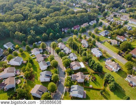 Scenic Seasonal Landscape From Above Aerial View Of A Small Town In Countryside Cleveland Ohio Usa