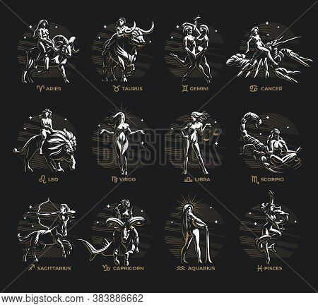 Collection Of All Signs Of The Zodiac. Woman And Animal Corresponding To The Sign. Small Zodiac Sign