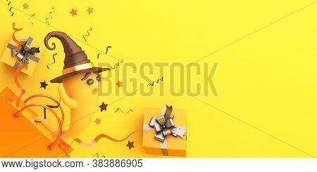 Happy Halloween Background With Cute Cartoon Pumpkin, Gift Box, Shopping Bag. Halloween Banner, Hall