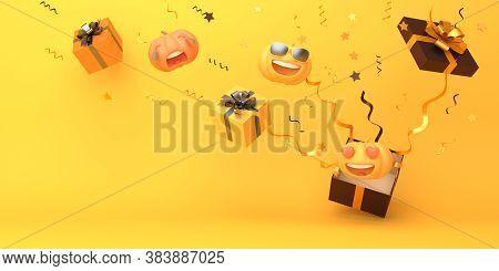 Happy Halloween Background With Cute Cartoon Pumpkin, Gift Box. Halloween Banner, Halloween Pumpkin,