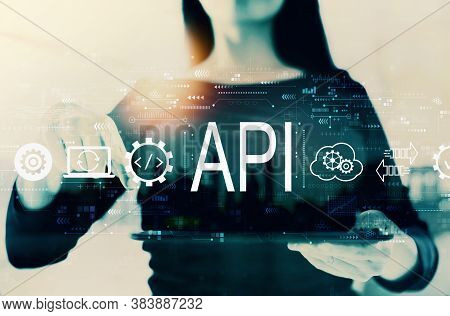 Api - Application Programming Interface Concept With Businesswoman On A City Background