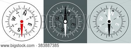 Dial Of The Compass Schematic Representation With An Arrow And Scale. Travel, Device For Determining
