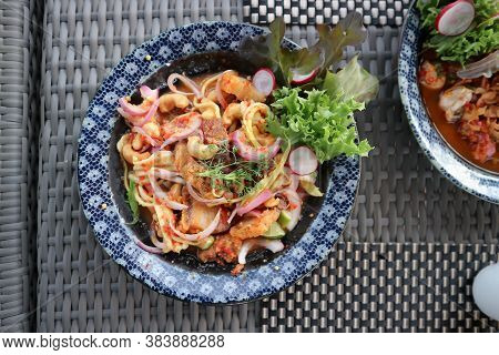 Spicy Pork Or  Spicy Pork Salad, Spicy Salad In Top View