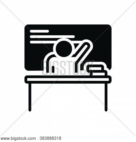 Black Solid Icon For Teacher Instructor Educator Teaching Teach Coach Student Learn Education Lectur