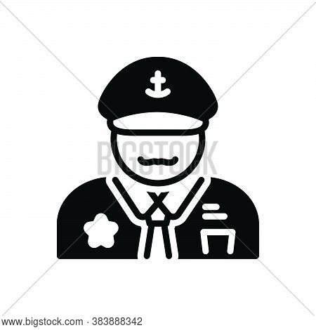 Black Solid Icon For Captain Skipper Padrone Executive Director Leader Pilot Chieftain Nautical Pers