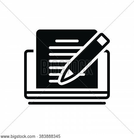 Black Solid Icon For Editor Pencile Copyholder Rewriter Deskman Writer Publishing Editorial Editable