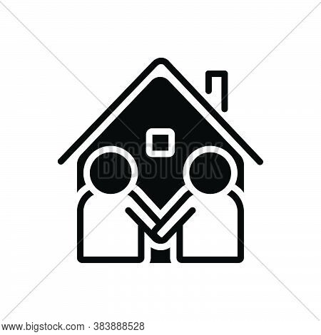 Black Solid Icon For Neighbor Vicinal Neighbour Next-door Neighboring Acquaintance Familiarization M
