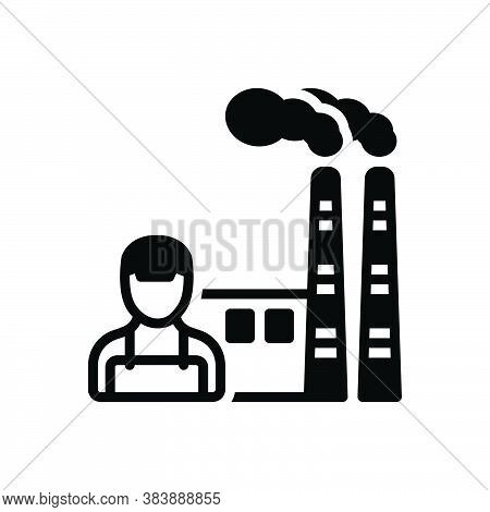 Black Solid Icon For Manufacturing Smoke Factory Plant Industry Smokestack Chemical Mill Nuclear-pla