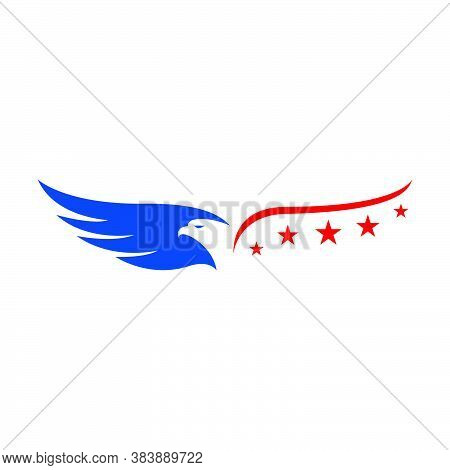 Red Blue Strip And Stars Us Usa Flag American Eagle Head Logo Vector Design Concept Illustrations