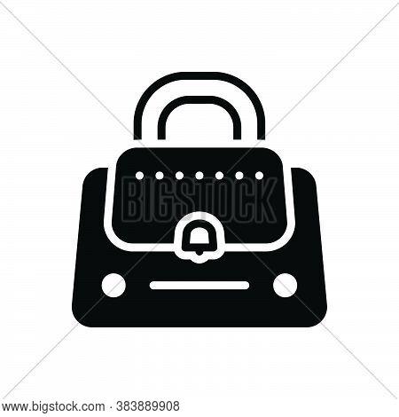 Black Solid Icon For Handbags Purse Female Lady Glamour Trend Bag Woman-purse Fashion Accessory