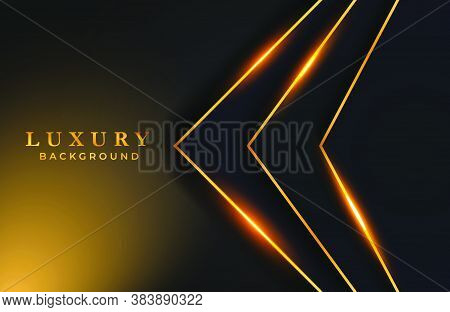 Black And Gold Abstract Geometric Frame Background With Golden Sparkle Element