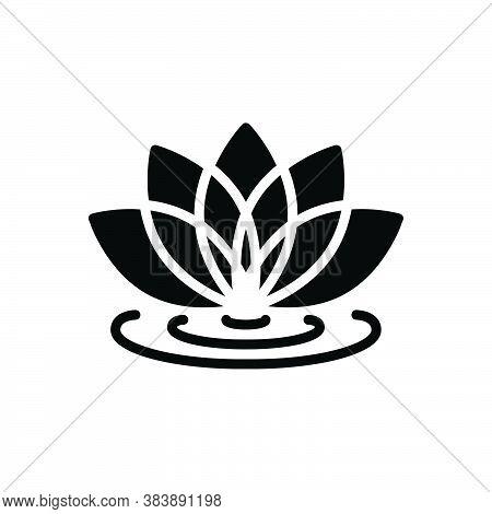 Black Solid Icon For Lotus-flower Lotus Flower Spa Meditation Natural Floral Bloom Garden-stuff Bouq