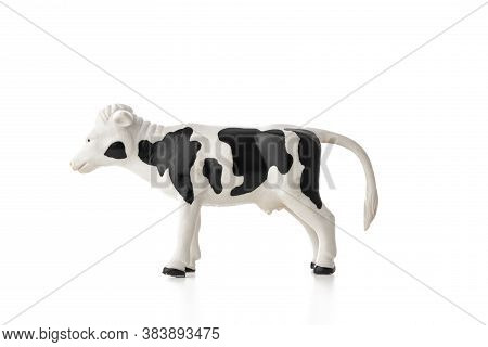 Cow Toy Isolated On White Background. Farm Animal.