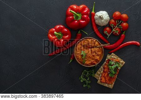 Traditional Balkan Vegetable Caviar. Harvesting Cooking. Roasted Red Pepper Relish Ajvar Or Aivar Wi