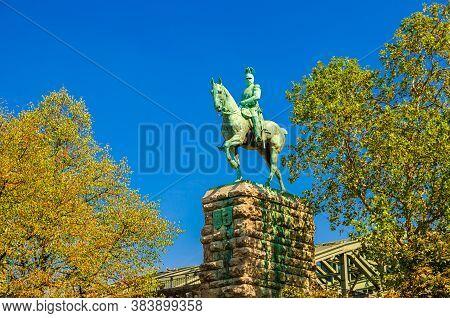 Equestrian Statue Of Kaiser Wilhelm Ii Monument On Stone Pedestal Near Hohenzollern Bridge In Cologn