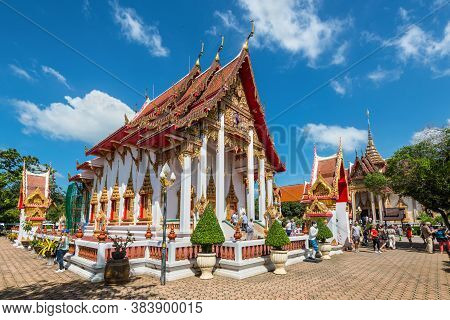 Phuket, Thailand - November 29, 2019: View Of The Wat Chalong Temple - Famous Attractions And Place