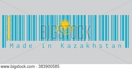 Barcode Set The Color Of Kazakhstan Flag, A Gold Sun Above Eagle On Blue Field And National Ornament