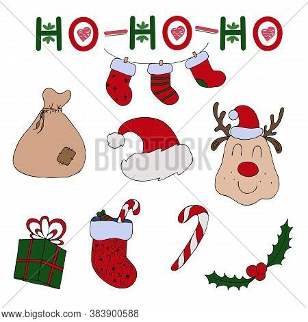Set Of Santa Claus - Deer, Cap, Gifts, Sock, Sugar Cane And Ho Ho Ho Text On White Background, Cute