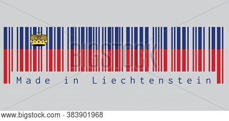 Barcode Set The Color Of Liechtenstein Flag, Blue And Red, Charged With A Gold Crown. Text: Made In