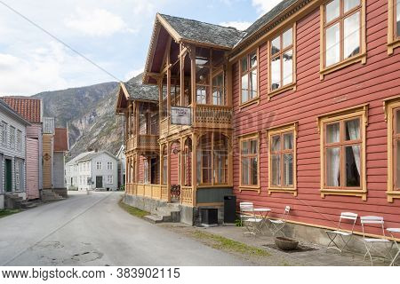 Street Scene With Typical And Historical Houses Of Laerdal Or Laerdalsoyri In Norway