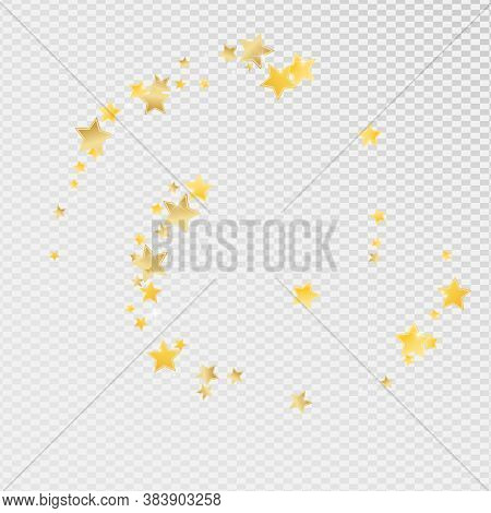 Gold Twinkle Stars Vector Transparent Background. Celebration Sparkle Banner. Space Pattern. Yellow