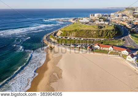 Aerial View Of Nobby Beach And Fort Scratchley Located Newcastle Australia
