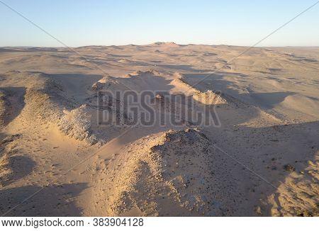 Aerial Over Sand Dunes In The Desert