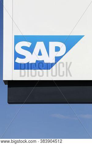 Aarhus, Denmark - August 7, 2018: Sap Logo On A Wall. Sap Is A European Multinational Software Corpo