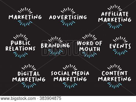 Marketing Header Banner Web Icon Set Of Marketing, Advertising, Affiliate Marketing, Public Relation
