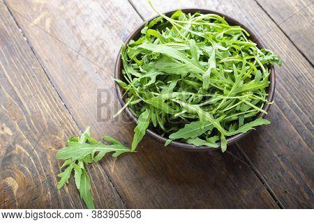 Fresh Arugula Leaves, Rucola. Vegan Food. Fresh Arugula