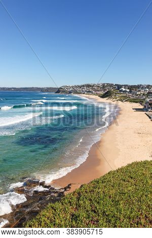 View Of Bar Beach And Merewether In Newcastle Nsw Australia.