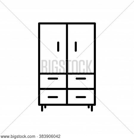 Cabinet,closet, Cupboard, Wardrobe Icon  With Outline Style Vector For Your Web Design, Logo, Ui. Il