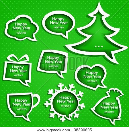 Christmas speech bubbles set various shapes on green background with New Year Greetings