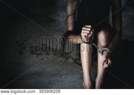 The Victim Was Locked By Handcuffs,  Human Trafficking Concept, Stop Violence Against Women, Women V