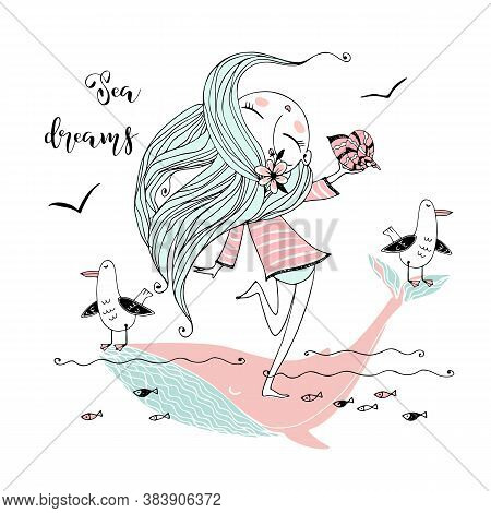 A Cute Girl With A Shell In Her Hand And Seagulls Swims On A Big Pink Whale In Her Dreams. Vector