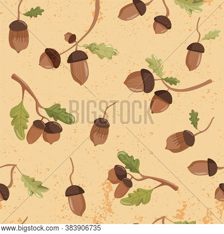 Autumn Seamless Pattern. Various Acorns And Oak Leaves. Print For Fabric, Web Page Background, Seaso